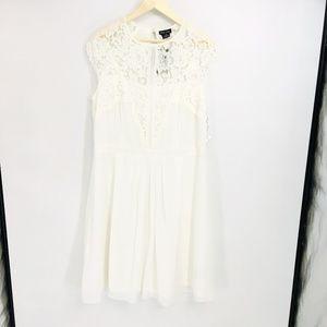 City Chic Short Sleeve Lace Ivory Dress